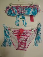 Juniors Xhilaration M Blue Pink White Bikini Topstring Bikini Bottom Swimsuit
