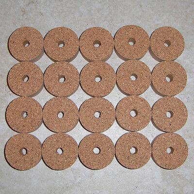 """4 RED BURL CORK RINGS 1 1//4/"""" D x 1//2/"""" H x 1//4/"""" I.D."""