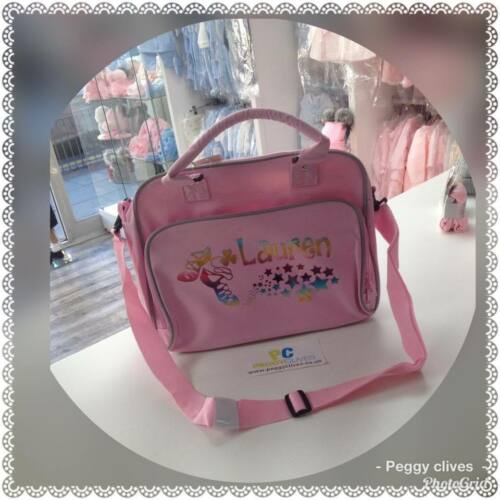 peggys personalised pink grey irish dancing rainbow  holographic dance bag 71