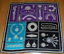 "NWOT Vera Neumann Silk Square Scarf Indian Wedding Jewelry Pattern 34"" Ladybug"