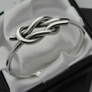 Hans-Hansen-1974-Vintage-Solid-925-Sterling-Silver-Knot-Design-Bangle-Bracelet