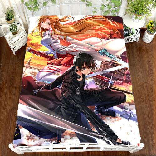 Sword Art Online Kirito Flano//Micro Fiber Bedsheet Blanket Holiday Gift 1.5*2m