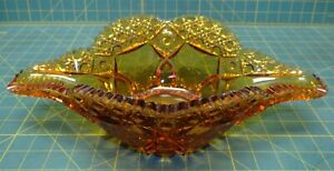 Kemple-Amber-Pressed-Glass-Hobstar-Diasy-Button-Long-Relish-Serving-Bowl-14-25-034