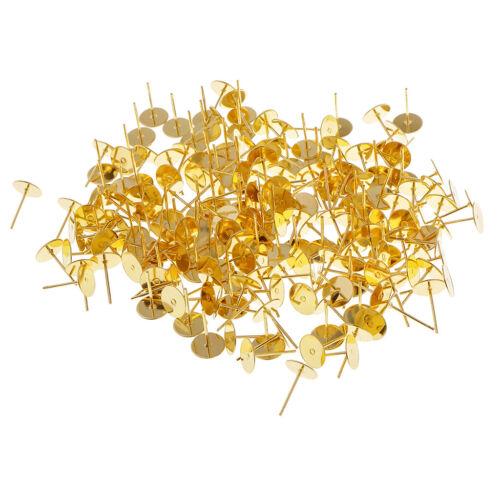 200Pcs Copper Earring Pin Stud Findings Back Post Blank DIY Craft 6//8//10mm