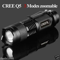 Mini CREE Q5 2000LM LED Flashlight Focus Waterproof 3 Modes Zoomable Torch Light