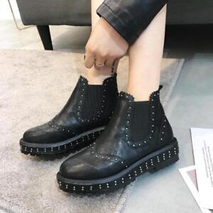 Détails sur Bottes Basses Chaussures Rangers 3 cm Noir Élégant Cuir Synthetique 9642
