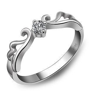 925 Sterling Silber Ring+18K Weißgold Gold pl. Silberringe Damen 16, 17, 18, 19