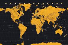 World Map Gold & Black Poster Print, 36x24