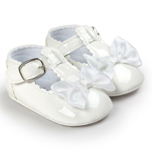 Baby Girls Princess Grib Shoe Faux Leather Soft Sole Sneaker Christening Pram G0