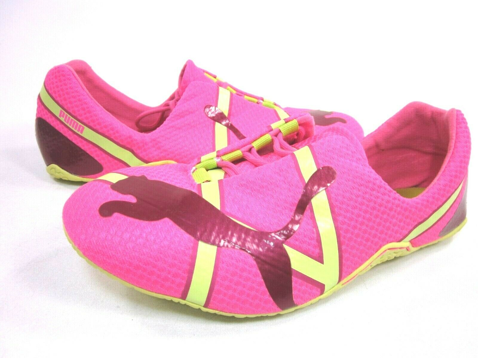 PUMA WOMEN'S ANAIDA METALLIC LACE UP SNEAKERS.FLUORESCENT PINK LIME,US SZ 6.5