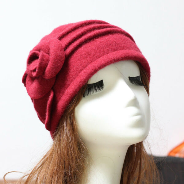 0b531c845cdc1 Women Winter Wool Fedoras Beret Beanie Cloche Bucket Hat Women s Elegant  Flower