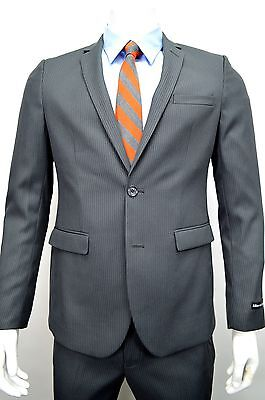 Men's Charcoal Gray Pinstriped 2 Button Slim Fit Suit SIZE 42R NEW