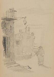 E.RONDAHL(*1858), Skizzenhafte Straßenszene, um 1880, Bleistiftzeichnung