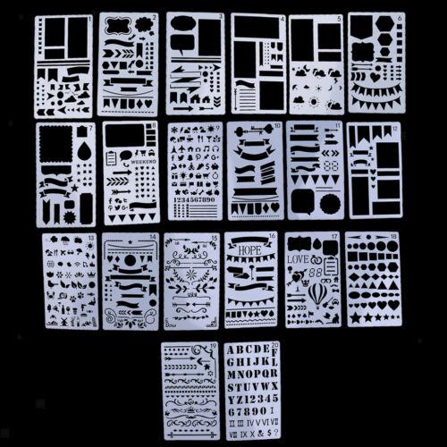 20er Set Zeichenschablonen Tagebuch Schablone Kunststoff Zeichnung Skala