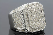 1.74 CARAT 100% GENUINE DIAMONDS MENS WHITE GOLD FINISH ENGAGEMENT PINKY RING