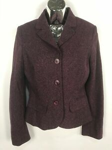 WOMENS-MONSOON-WOOL-BLEND-PURPLE-HERRINGBONE-BUTTON-UP-SMART-JACKET-SIZE-UK-8