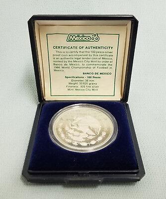 1985 Mexico FIFA World Cup Soccer Futbol 100 Peso Silver Proof w// Box /& COA