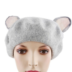 Women Ladies Winter Warm Faux Wool Gray Cat Ear Girl Beret Cap ... ed7cfd43f13