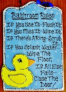 Image Is Loading RUBBER DUCKY Bathroom Rules SIGN Bath Decor Wood
