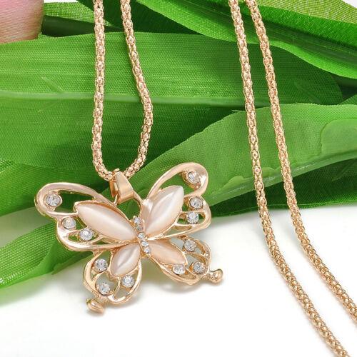 Fashion femmes or rose Papillon Pendentif Chandail Chaîne Collier Bijoux Cadeau