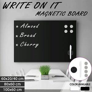 vidaXL Wall Mounted Magnetic Board Glass Chalkboard White/Black Multi Sizes