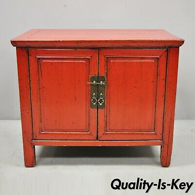 """Red Lacquer Chinese 24"""" Two Door Storage Cabinet Bedside ..."""