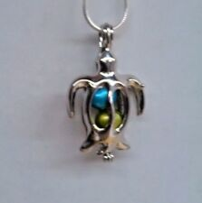 Make a Wish Pearl Cage Pendant Necklace - Sea Turtle - 925 Chain+Pearl Included