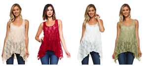 Women-039-s-Sleeveless-Lace-Swing-Tank-Top-Tunic-Blouse-Made-in-USA-S-M-L-XL
