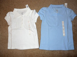 NEW  Girls Uniform Polo Shirts Blue White Old Navy Top