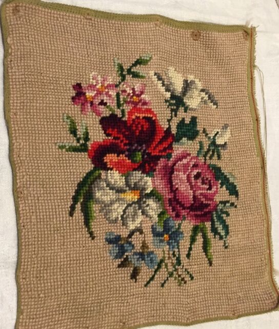"Antique Hand Done Needle Point Wool Canvas Floral Pink Red Green Blues 11""x9"""