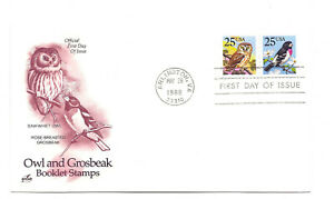 2284-85 Owl & Grosbeak booklet pair ArtCraft FDC