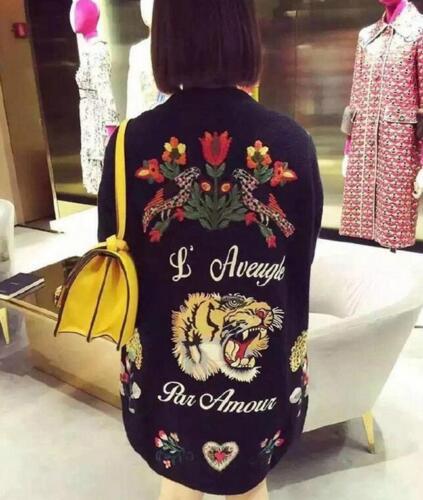Warm Blomsterstrikket Cardigan Broderi Lang Loose Sweater Outwear Frakke Kvinders dqFtgq