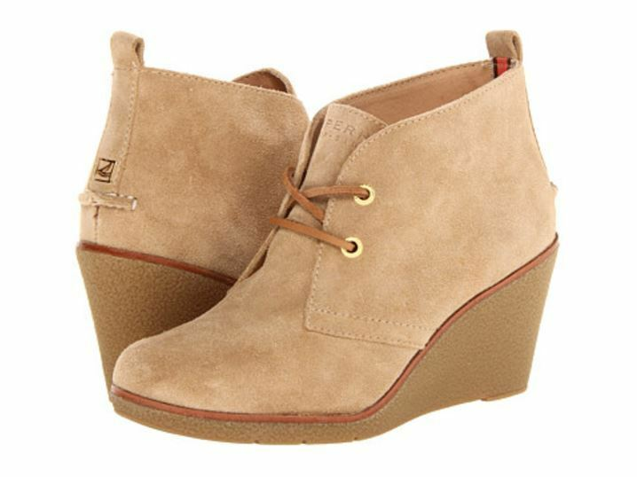 Sperry Top Sider Women's Harlow Sand Suede Wedge Ankle Boots 6260 Size 10M