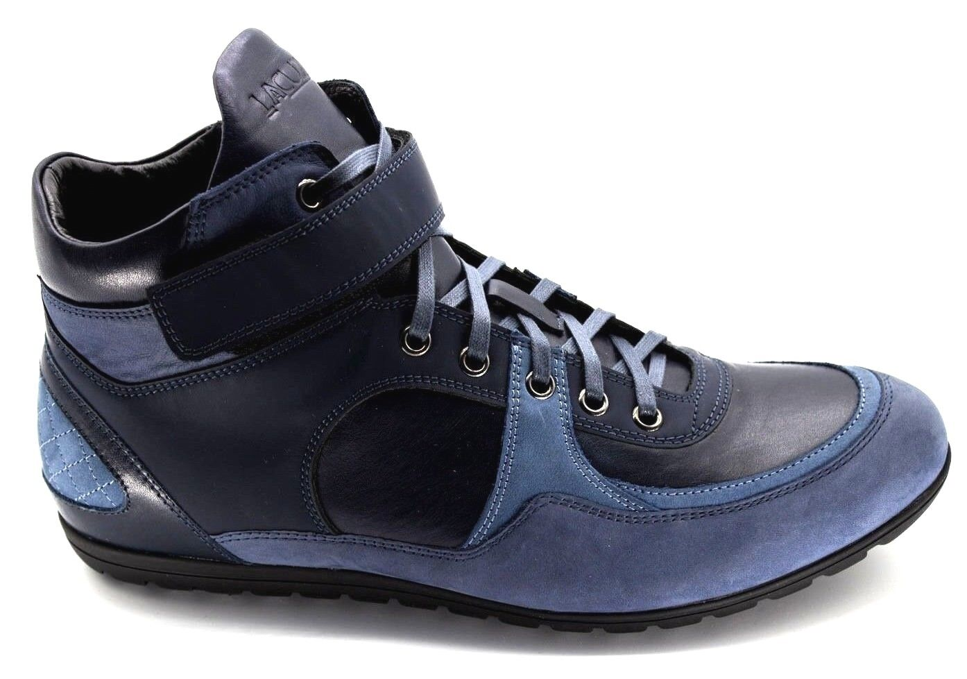 7140b72b49da 31 MENS NAVY REAL LEATHER HIGH TOP SNEAKERS BOXING SHOES ITALIAN NEW ...