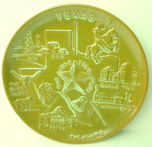 Frankoma-Pottery-Embossed-Texas-Collectors-Plate-Classic-Brown-Green