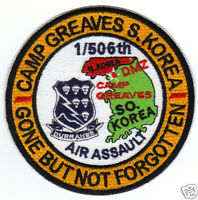 Us Army Post Patch, Camp Greaves S. Korea, 1/506th, Gone But Not Forgotten Y