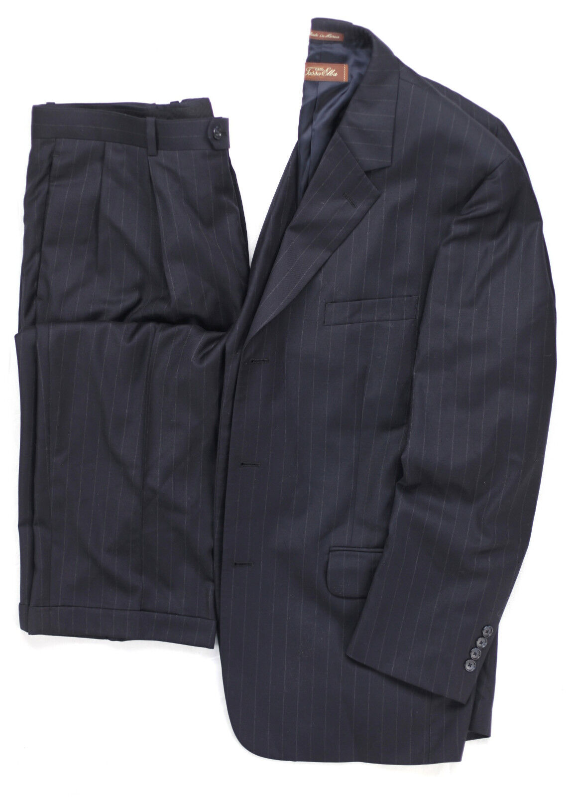 Macys Navy Pinstripe Tasso Elba Angelico Super 140s Woven in  Wool 42R Suit