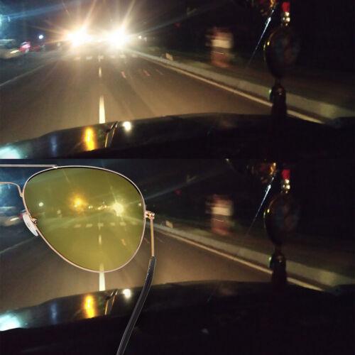 Pilot Style conduite de nuit Lunettes Anti Reflets Jaune Lentille Lunettes De Soleil polorised