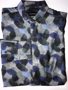 NWT-495-Emporio-Armani-Men-039-s-Gray-and-Blue-Dress-Shirt-Size-37-14-5-V1CC2T