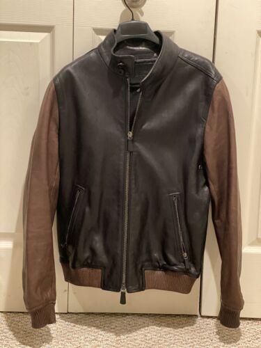$999 Coach Men's Black Brown Leather Jacket Size M