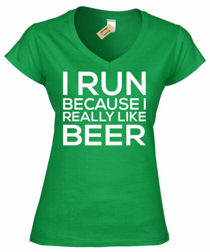 Womens I Run Because I Like Beer Funny Ladies T Shirt Cute workout V-Neck Gym