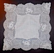 VTG Linen & Embroidered Floral Net Lace Wedding Bridal Handkerchief #1