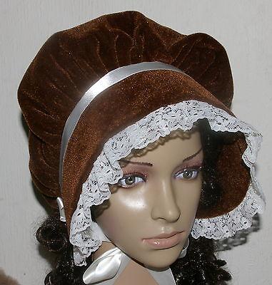 Victorian ladies bonnet costume fancy dress Dickensian Christmas carol singer br