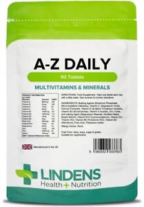 Multivitamin & Minerals A-Z Daily tablets (90 pack) one-a-day [Lindens 3763] 754465285945