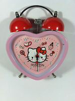 Collectible Hello Kitty Twin Bells Alarm Clock Pink Heart Shape Battery Powered