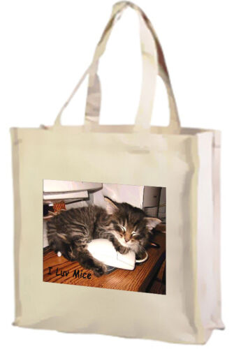 Black Cream Choice of Colours Long Haired Tabby Cat Cotton Shopping Bag