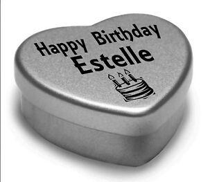 Happy Birthday Estelle Mini Heart Tin Gift Present For Estelle With