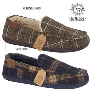 Mens-Fleece-Lined-Moccasin-Winter-Warm-Check-Slippers-Shoes-Size-7-8-9-10-11-12