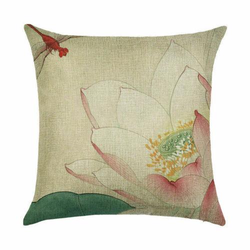 Flower Pttern Pillow Case Home Decor Cotton Linen Sofa Car Throw Cushion Cover
