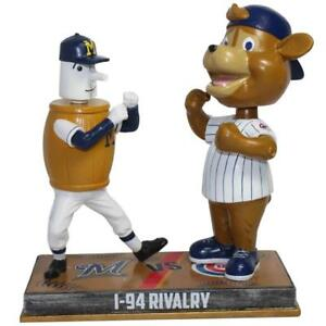 Details about Milwaukee Brewers Chicago Cubs Barrelman Clark Mascot I-94  Rivalry Bobblehead